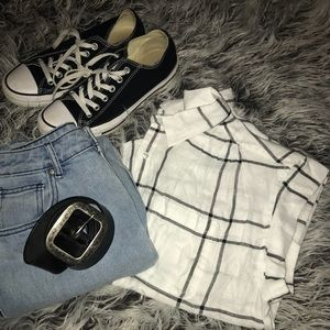 White collared shirt with black stripes